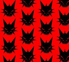 Black Dragon's Head Design On Red Background by LuckDragonGifts