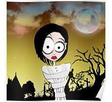 Crazy Girl in a Graveyard Poster