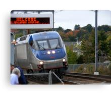 Amtrak Northeast Direct Regional Train 172 approaches Mystic Ct Canvas Print