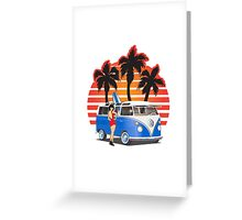 VW Split Window Bus Teal w Girl & Palmes Greeting Card