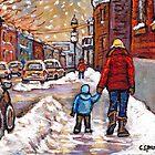 BEST CANADIAN CITY SCENES VERDUN MONTREAL WINTER SCENES by Carole  Spandau