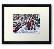 FATHER AND SON WINTER POINTE ST.CHARLES PAINTINGS MONTREAL ART CANADIAN PAINTINGS Framed Print