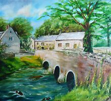 Cotswalds Village and Brook by Steven James
