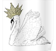 White Swan Queen - Gold Crown Poster
