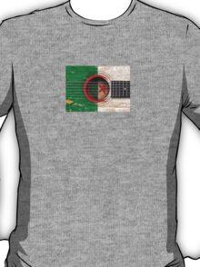 Old Vintage Acoustic Guitar with Algerian Flag T-Shirt