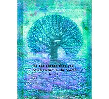 Gandhi Change quote with tree Photographic Print