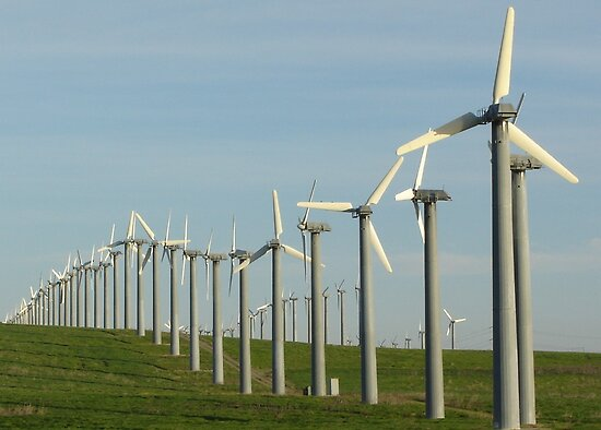 Windmills on Altamont Pass by cardinalli