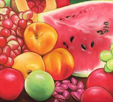 Peaches, Watermelon, Grapes, Apples...Fruit Still Life by Paula Parker