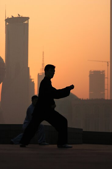 Early Morning Tai Chi (???) on Shanghai's Bund by Mark Bolton