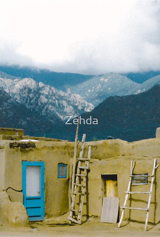 Taos Pueblo Sangre de Cristo Mountains by Zehda