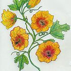 Botanical Print of Fire Blossom Vine by Starshadow