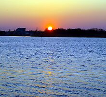 Sunset Over Barnegat Bay in Ortley Beach, NJ by Maria  Palumbo