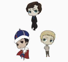 Sherlock, John, and Jim chibis by tobiejade