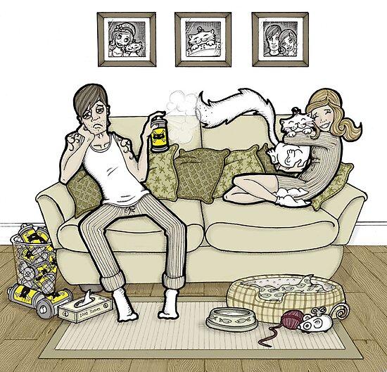 Cat allergy. by MissIllustrator