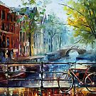 Bicycle in Amsterdam — Buy Now Link - www.etsy.com/listing/174605189 by Leonid  Afremov