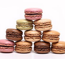 Colored macarons  on white background by miromiro