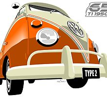 VW Transporter orange - 65th anniversary by car2oonz