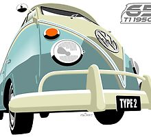 VW Transporter light blue - 65th anniversary by car2oonz