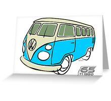 VW Type 2 bus blue Greeting Card