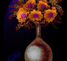 orange flowers in a vase by Phoenix-Appeal