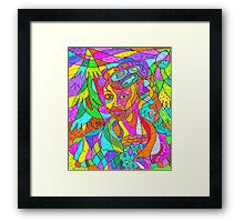 Let's explore the woods. Framed Print