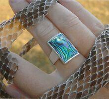 Paua shell and snake skin. by trickyclicky