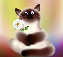 Himalayan Cat with Flower by lydiasart