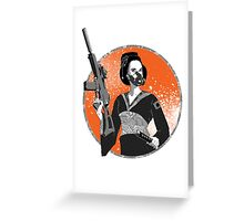 Geisha and Machine Gun Greeting Card