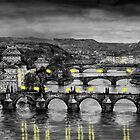 BW Prague Bridges by Yuriy Shevchuk