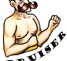 Bruiser vintage boxer traditional old school tattoo design by NaughtyMynx