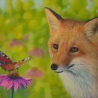 Fox and butterfly by Veikko  Suikkanen