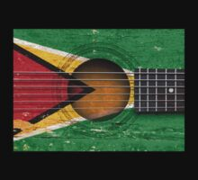 Old Vintage Acoustic Guitar with Guyanese Flag Kids Clothes