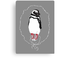 Happy Penguin in Converse Canvas Print
