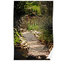 Rustic stairs in a garden Poster