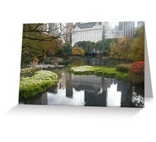 Plaza Hotel Reflecting in Central Park Lake, Fall Colors Greeting Card