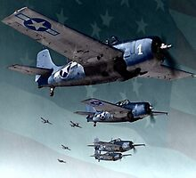 Gruman F4F Fighters Formation by A. Hermann