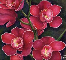 crimson flowers *featured in group all about flowers & Florals,watercolours,and pastels* &water media group! by sneha