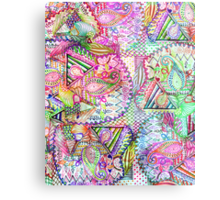 Abstract Girly Neon Rainbow Paisley Sketch Pattern Metal Print