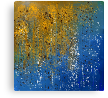 Abstract in Gold, Blue, and White Canvas Print