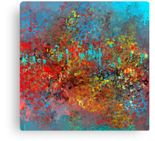 Colorful Absract in Aqua, Red, Yellow, and Blue Canvas Print
