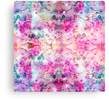 Girly pastel pink floral bright watercolor space Canvas Print