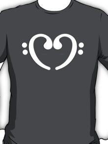 Bass Music Notes White Heart T-Shirt