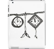 Clocks & Feathers Black and White Drawing iPad Case/Skin