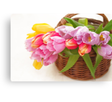Bouquet of tulips in a basket Canvas Print
