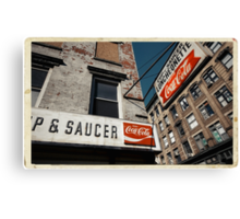Cup & Saucer - New York City Store Sign Kodachrome Postcards  Canvas Print