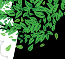 Girl head with green leaves Sticker
