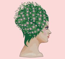 Girl with green hair and flowers Kids Clothes