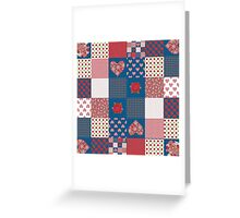 Hearts and Roses Faux Patchwork Pattern Greeting Card