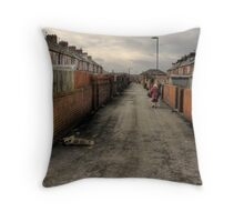 Through the backstreets of a Yorkshire mining Town Throw Pillow
