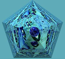 Blue waterpearl on an abstract pyramid  by Katho Menden